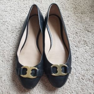 Tory Burch Black Leather Flats Size 8